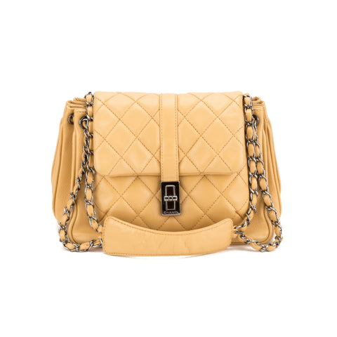 Chanel Beige Accordion Bag (Authentic Pre Owned)