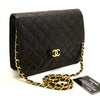 Chanel Black Quilted Lambskin Chain Clutch (SHB-10097)