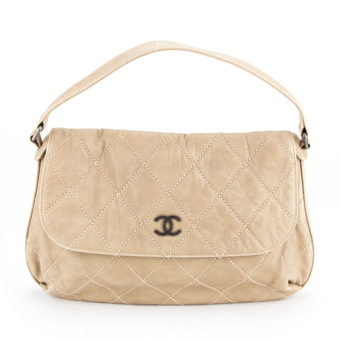 Chanel Beige Stitch Quilted Single Flap Bag (Authentic Pre Owned)