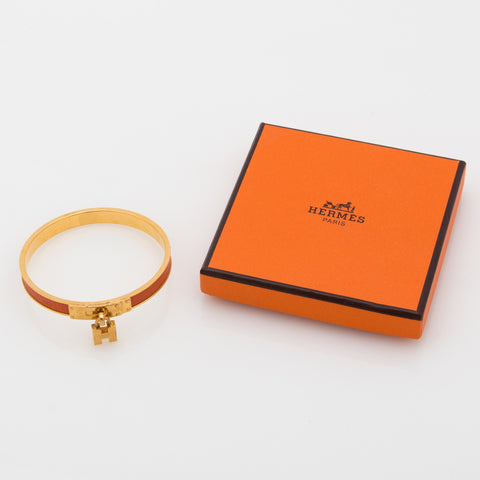 Hermes Kelly Leather Cadena Bracelet (Authentic Pre Owned)