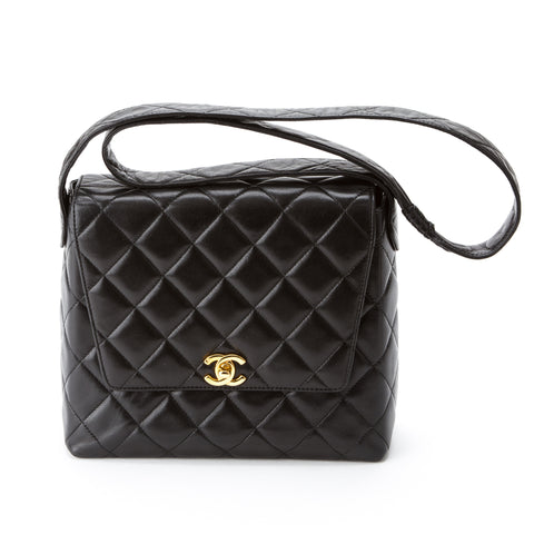 Chanel Black Quilted Lambskin Single Flap Tote (Authentic Pre Owned)