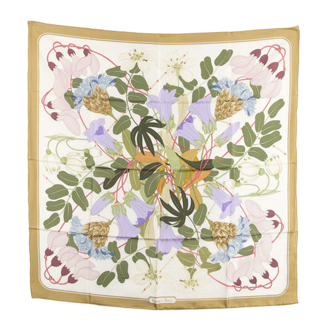 Hermes Silk Scarf Floral design Green (Authentic Pre Owned)