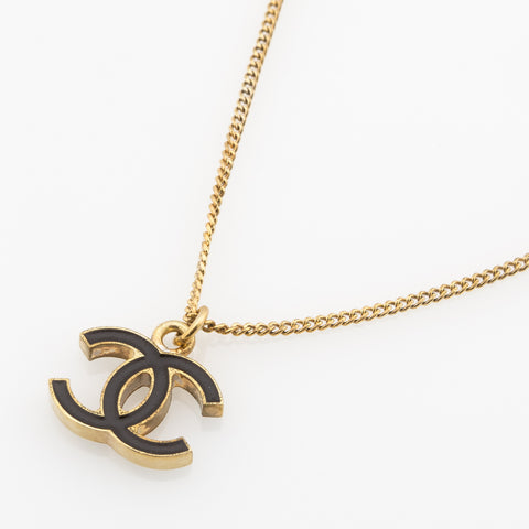 Chanel CC Necklace Gold and Black (Authentic Pre Owned)
