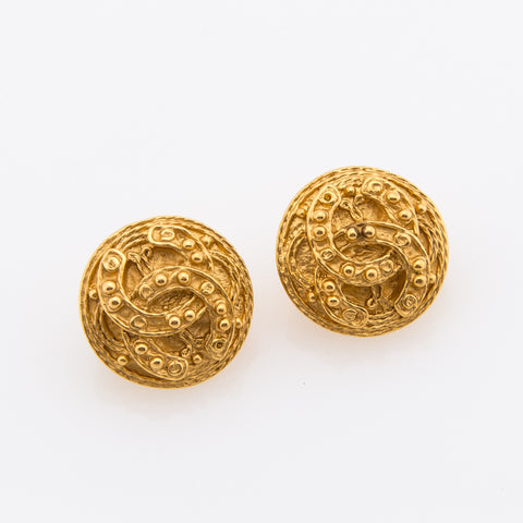 Chanel Gold CC Clip Earrings (Pre Owned)