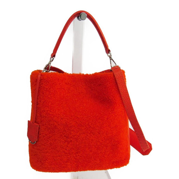Fendi Orange Shearling and Leather Anna Selleria Shoulder Bag (SHA11101)