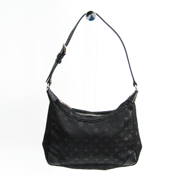 Louis Vuitton Noir Monogram Satin Boulogne PM (SHA-22212)