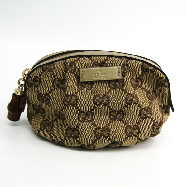 Gucci Brown Bamboo GG Cosmetic Pouch