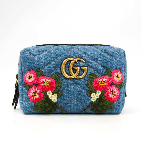 Gucci Embroidered Matelasse Denim GG Marmont Cosmetic Case (SHA-27066)