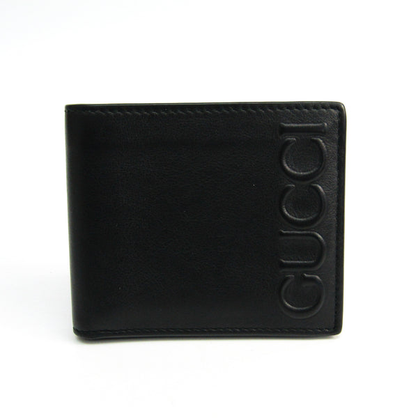 Gucci Black Embossed Gucci Logo Leather Wallet (SHA20412)