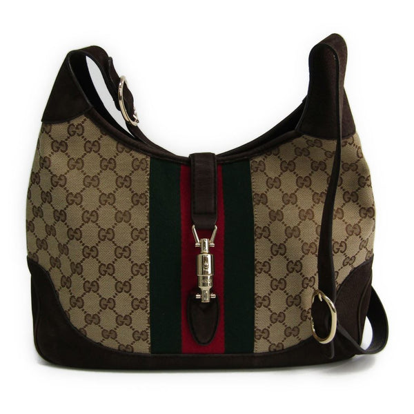 Gucci Brown Leather GG Supreme Canvas Jackie (SHA10823)