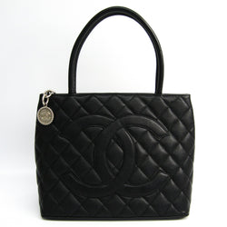 Chanel Black Caviar Leather Medallion Tote Bag (SHA-11245)