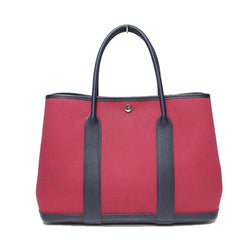 Hermes Rouge Moyen Garden Party Leather PM Toile Tote  (SHA25734)