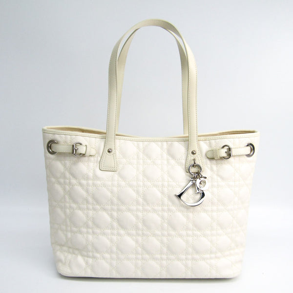 Christian Dior White Cannage Quilted Leather Panarea Tote (SHA-16565)