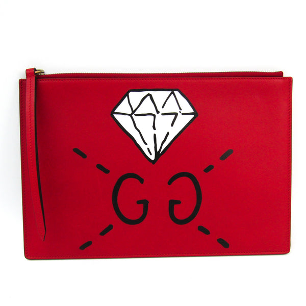 Gucci Red Leather GucciGhost Clutch (SHA-35839)