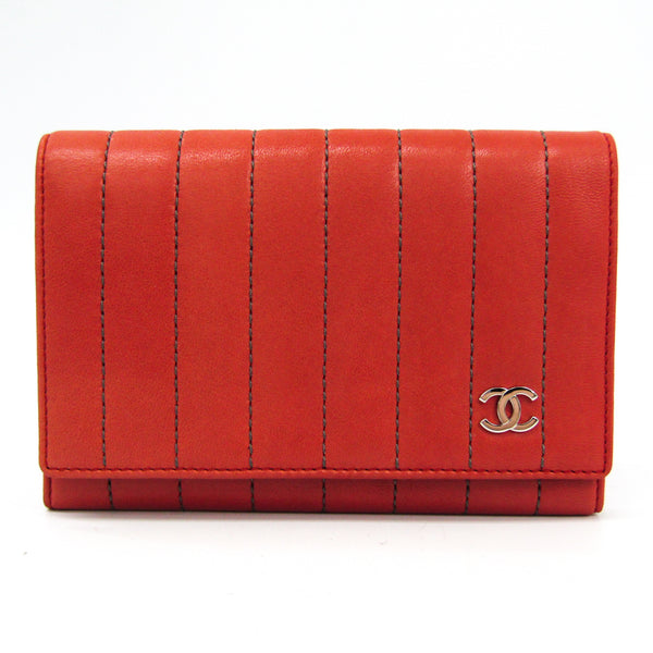 Chanel Red Leather Bifold Mademoiselle Wallet (SHA27060)