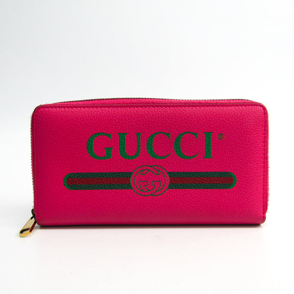 Gucci Pink Leather Print Zip Around Wallet (SHA-45330)