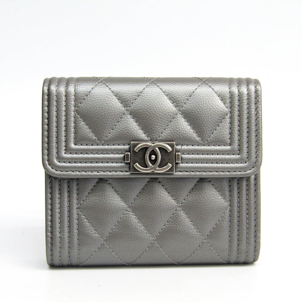 Chanel Silver Quilted Caviar Boy Bill Wallet (SHA-44710)