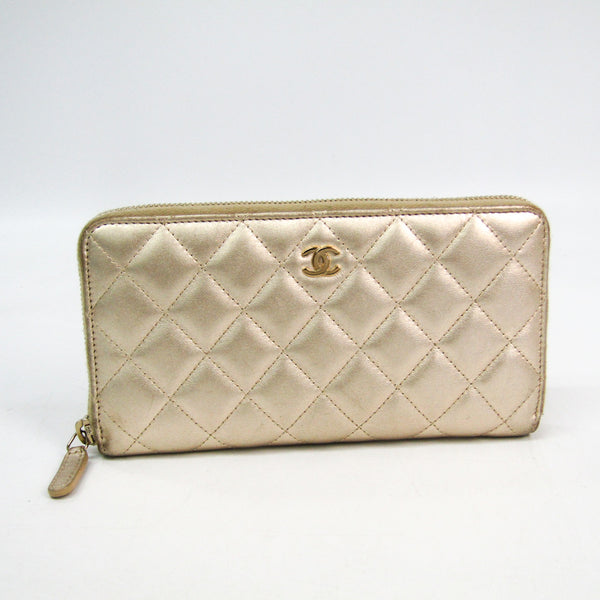 Chanel Gold Quilted Lambskin Matelasse Zip Around Wallet (SHA-46452)