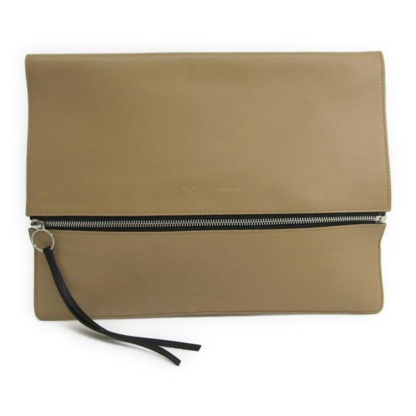 Celine Beige leather Fold Over Clutch (SHA-10251)