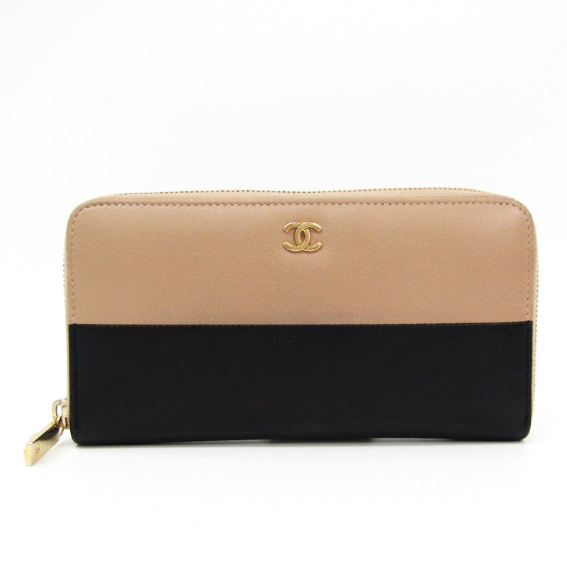 Chanel Bi Color Lambskin Zip Around Long Wallet  (SHA-14260)