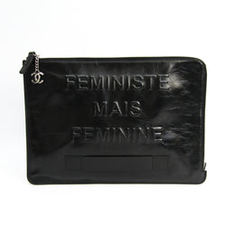 Chanel Black Leather FEMINISTE MAIS FEMININE Clutch (SHA-41111)