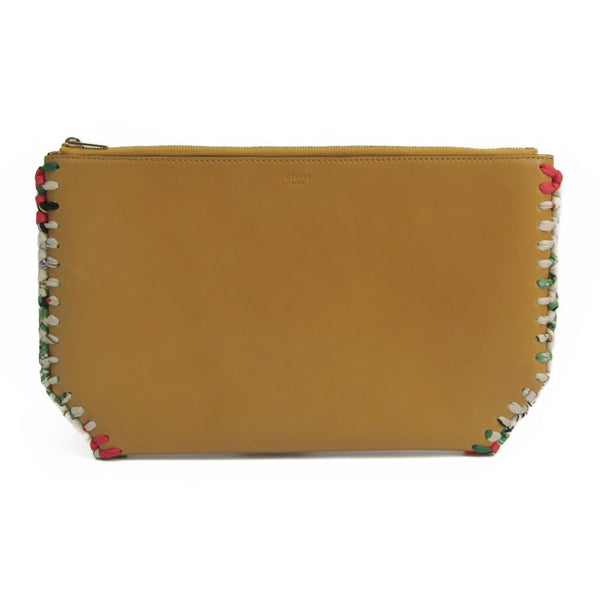 Celine Brown Leather Silk Woven Clutch Bag (SHA-14093)
