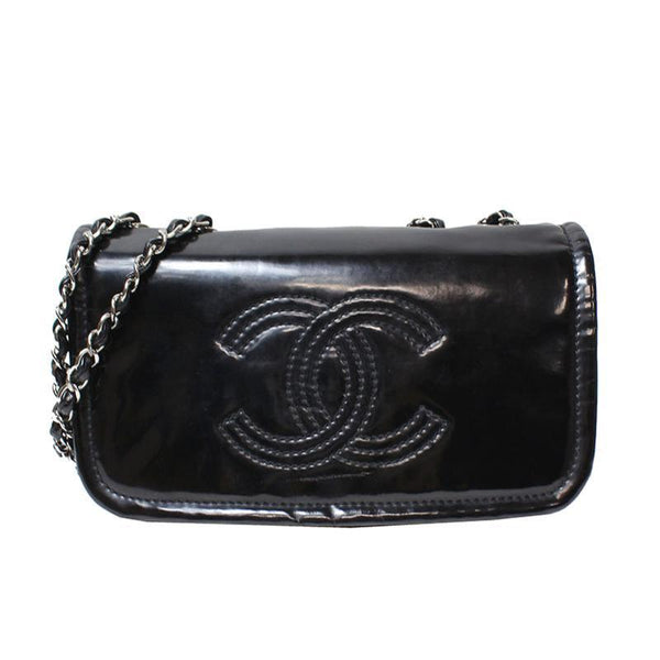 Chanel Black Patent Leather Lipstick Crossbody Bag (SHA-34974)
