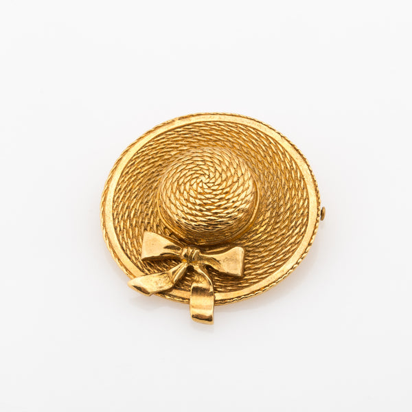 Chanel Gold Hat Brooch (Authentic Pre Owned)