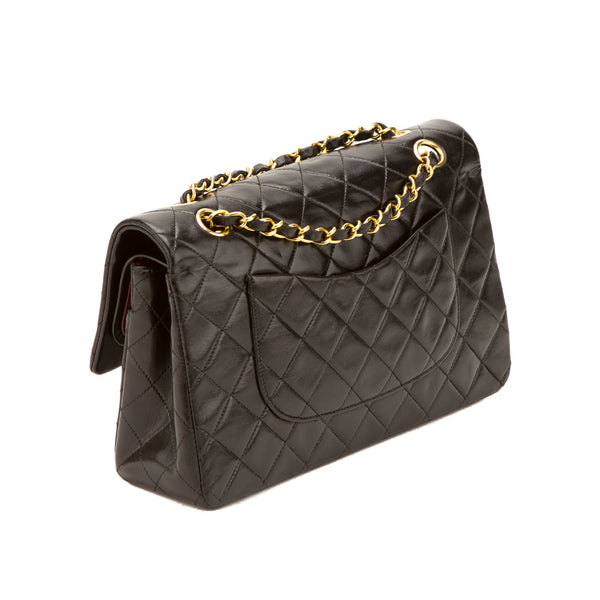 Chanel Black Lambskin Double Flap Bag (Authentic Pre Owned)