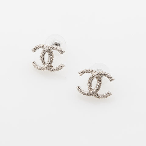 Chanel Coco Mark Pierced Earrings (Authentic Pre Owned)