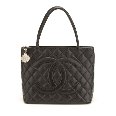 Chanel Black Caviar Medallion Tote Bag (Authentic Pre Owned)