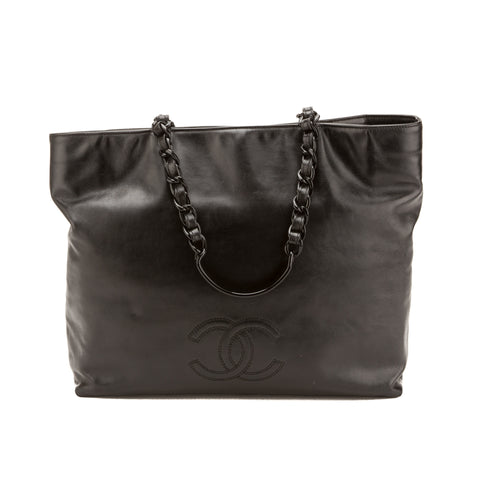 Chanel Black Calfskin CC Tote (Authentic Pre Owned)