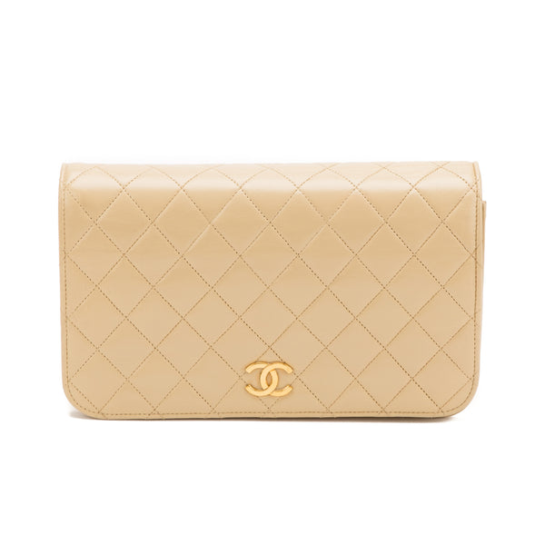 Chanel Beige Lambskin Single Flap Bag (Authentic Pre Owned)