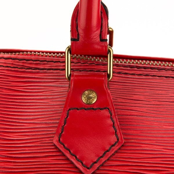 Louis Vuitton Red Epi Speedy 25 Bag (Authentic Pre Owned)
