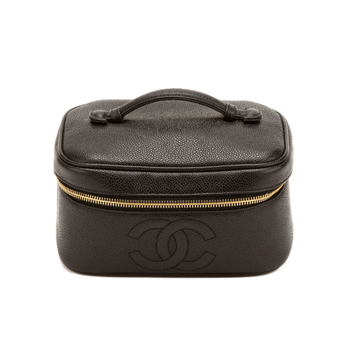Chanel Black Caviar Vanity Case (Authentic Pre Owned)