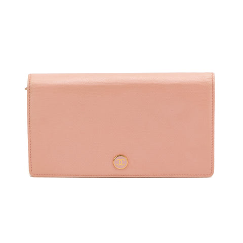 Chanel Pink Calfskin Bifold Wallet (Authentic Pre Owned)