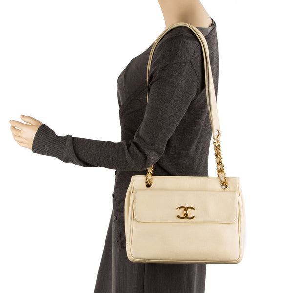 Chanel Beige Caviar Shopping Tote Bag (Pre Owned)