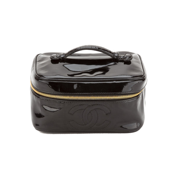 b97db897aa0 Chanel Black Patent Leather Cosmetic Case (Authentic Pre Owned ...