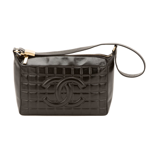 Chanel Black Lambskin Chocolate Bar Bag (Authentic Pre Owned)