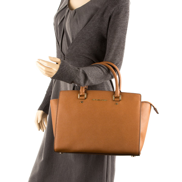 Michael Kors Brown Selma Saffiano Large Satchel (New with Tags)