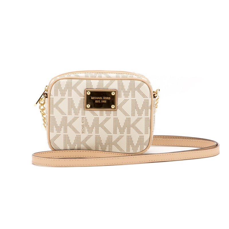Michael Kors Beige MK Logo Jet Set Crossbody (New with Tags)
