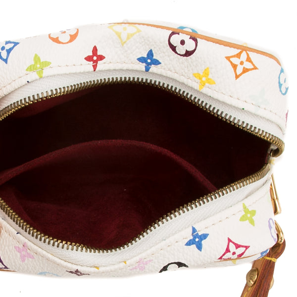 Louis Vuitton White Multicolor Truth Wapiti Cluth Pouch (Authentic Pre Owned)