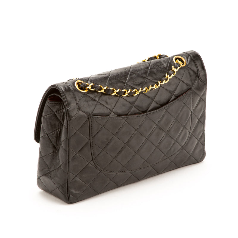 Chanel Black Lambskin Double Flap Bag (Pre Owned)