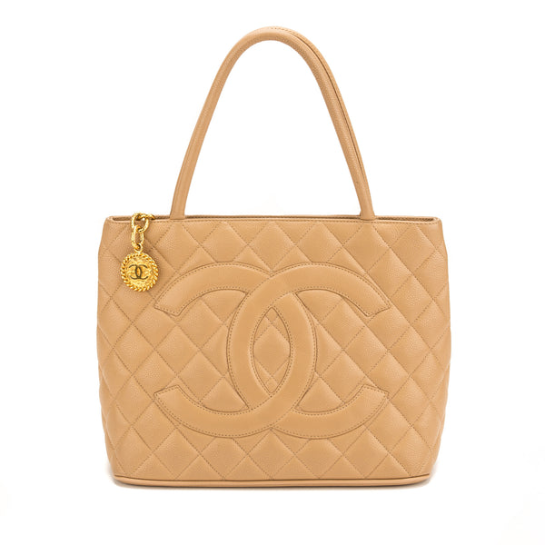 Chanel Beige Caviar Medallion Tote Bag (Pre Owned)