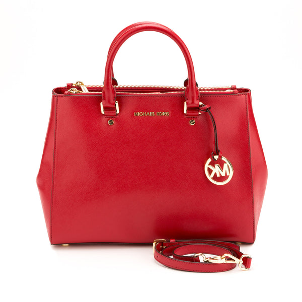 Michael Kors Red Leather Jet Set Dressy Travel Tote (New with Tags)