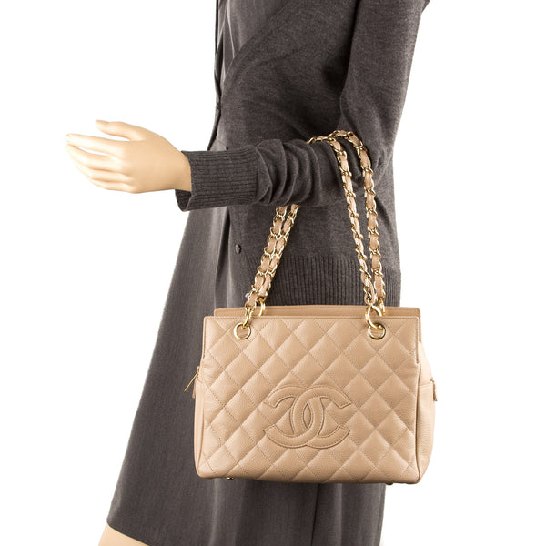 Chanel Beige Caviar Shoulder Bag  (Pre Owned)