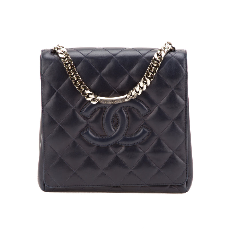 Chanel Navy Lambskin Single Flap Tote Bag (Authentic Pre Owened)