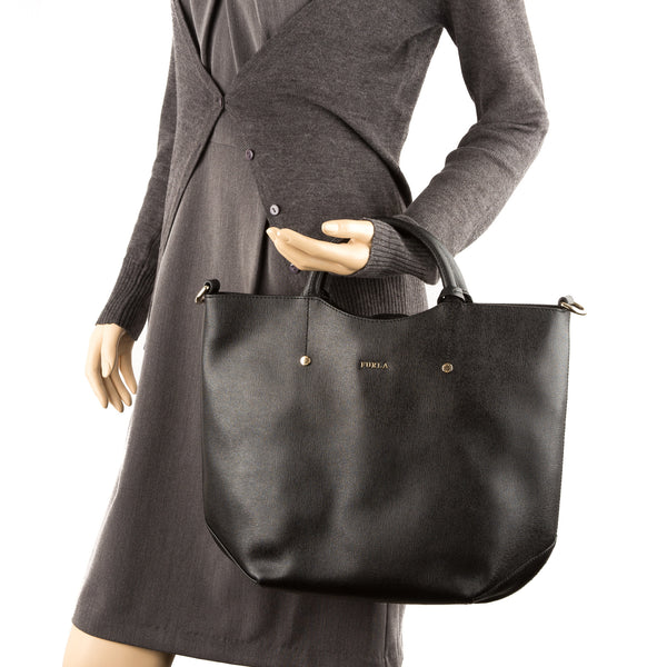 FURLA Black Alissa Large N/S Tote (New with Tags)