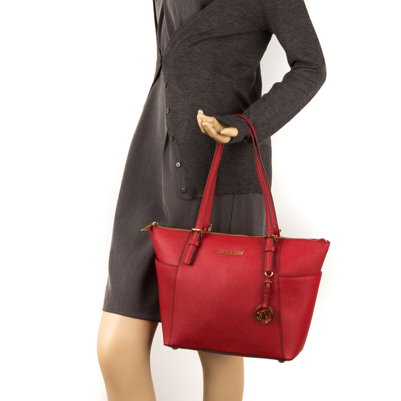 Michael Kors Red Leather East/West Logo Jet Set (New with Tags)