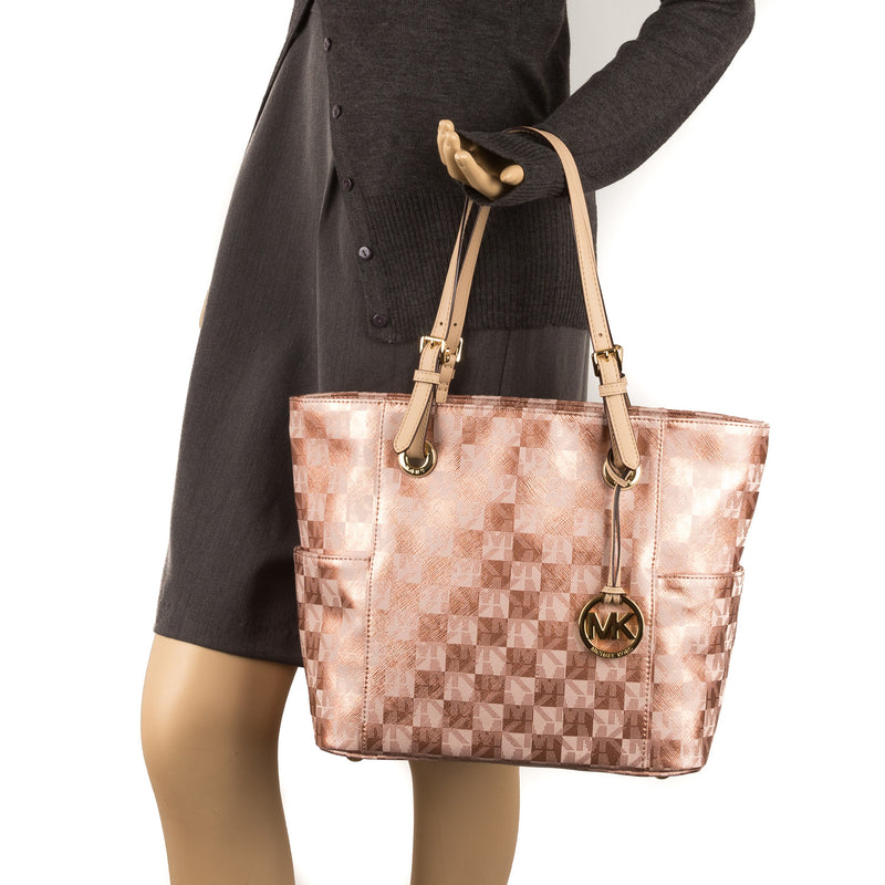 Michael Kors Rose Gold Leather E/W Logo Jet Set (New with Tags)